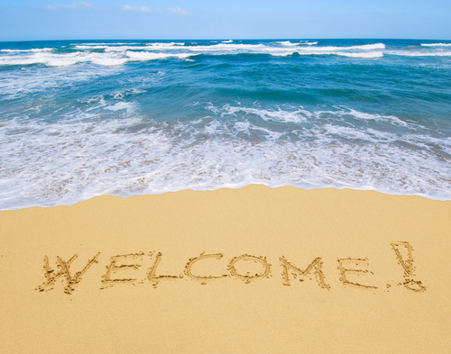 welcome in sand